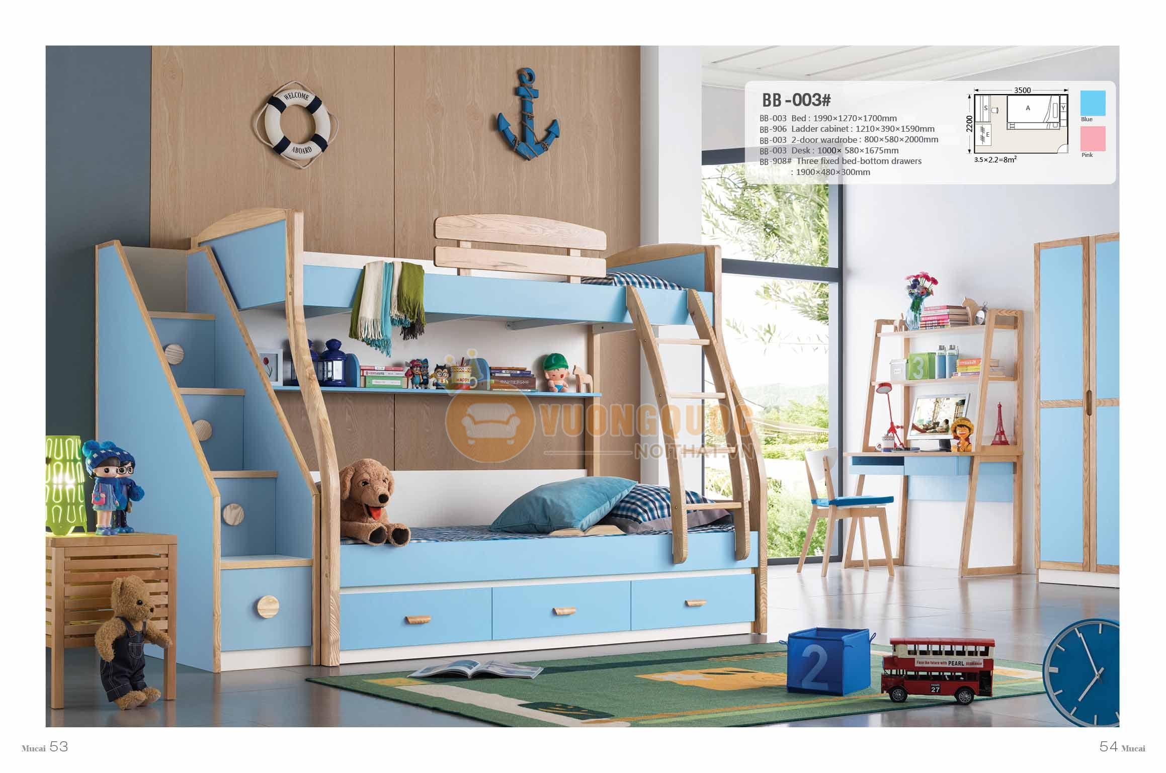 Giường tầng cho bé gái Model BB003