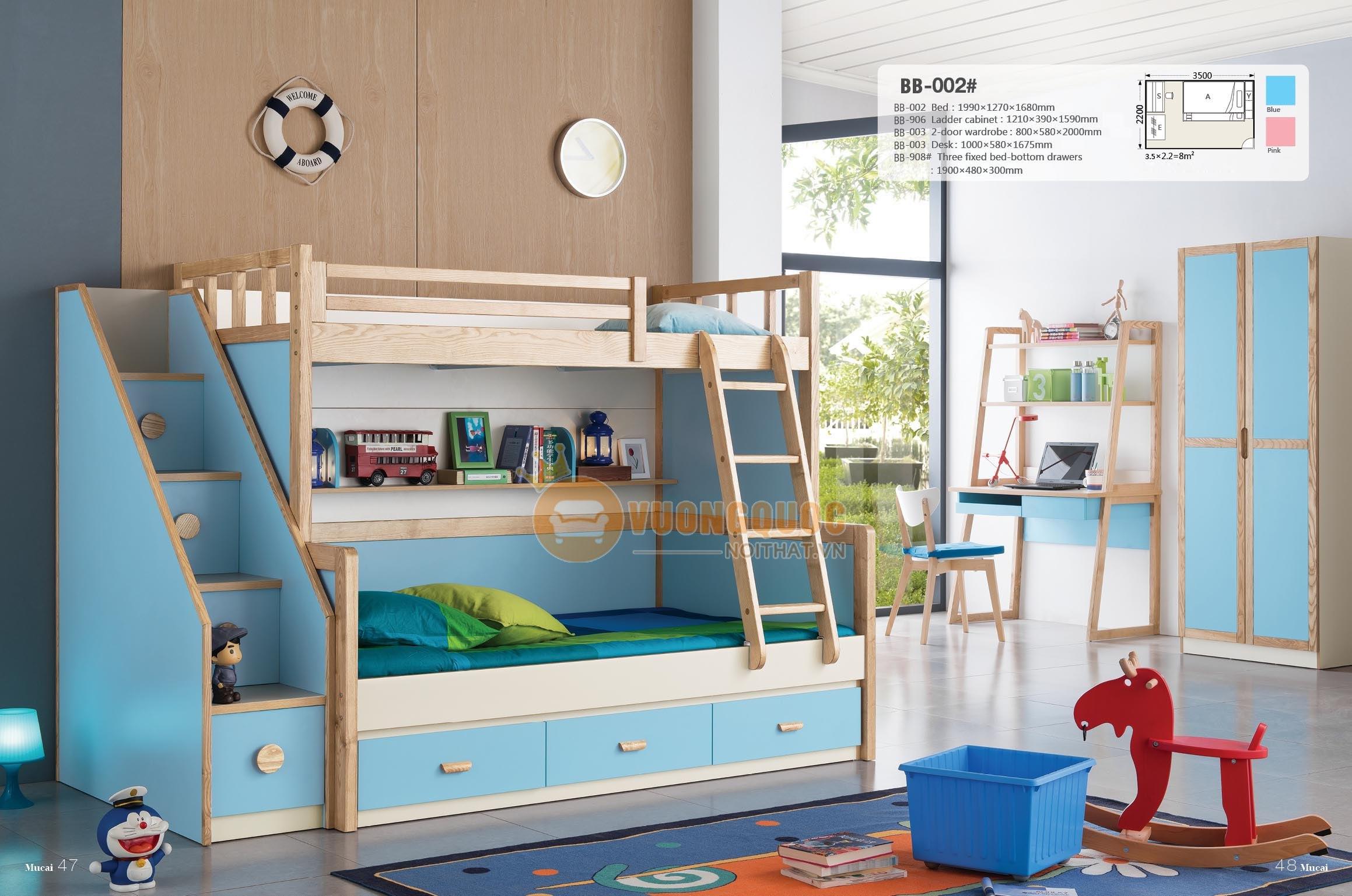 Giường tầng trẻ em nhập khẩu Model BB002