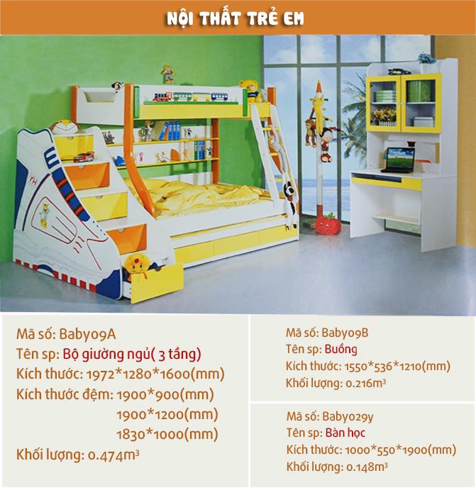 Giường tầng trẻ em đa năng BABY 09AG (vàng)