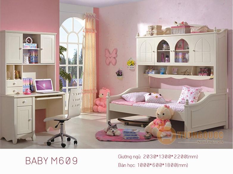 Giường ngủ trẻ em BABY M609G ( trắng kem)