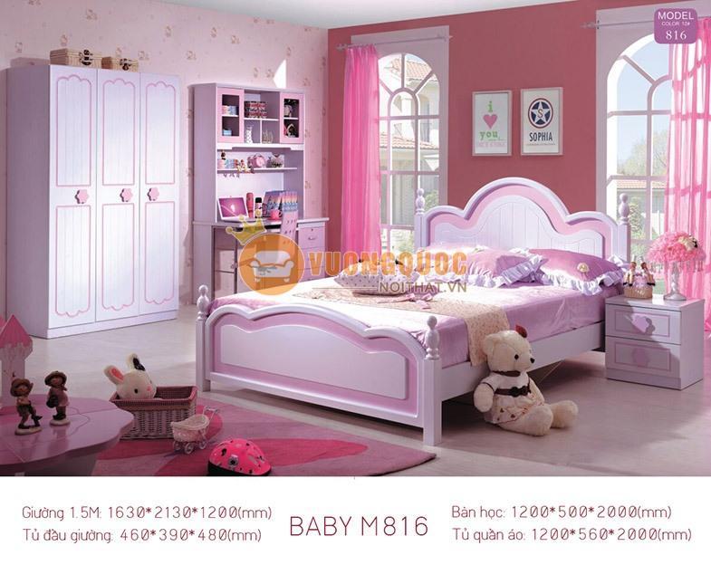 Giường ngủ công chúa cho bé trắng tím Baby M816G