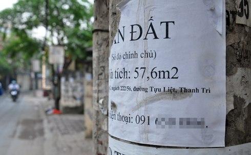 Đất thổ cư nhiều khu vực ở Hà Nội xuống giá