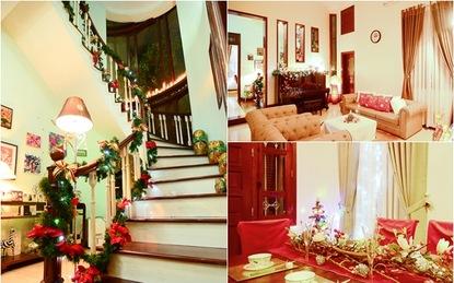 Ngôi nhà trang trí Noel đẹp mọi góc nhỏ với 2 màu vàng-đỏ