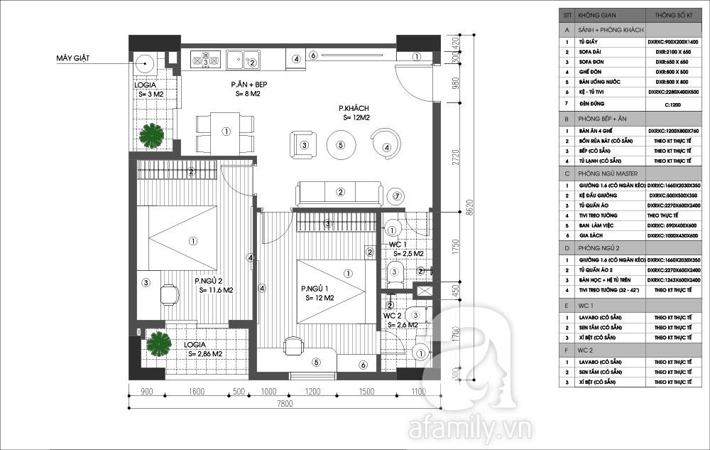 Tư vấn bố trí nội thất căn hộ nhỏ 64,6m² cho 4 người ở