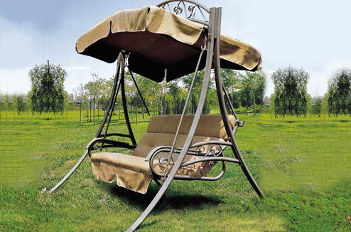 Ghế xích đu sân vườn có đệm ngồi + mái che