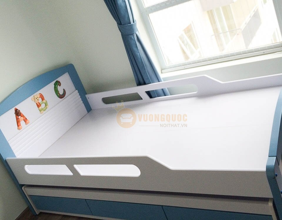 Giường hộp 2 tầng có ngăn kéo BABY A17 (Xanh)