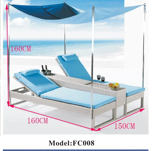 Giường đôi bãi biển mã ZXFC008