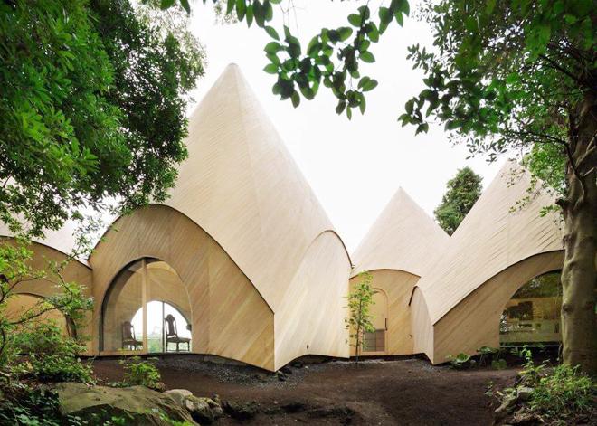 Độc đáo với ngôi nhà hình chóp xây dựng trong rừng với bể bơi hình xoắn ốc