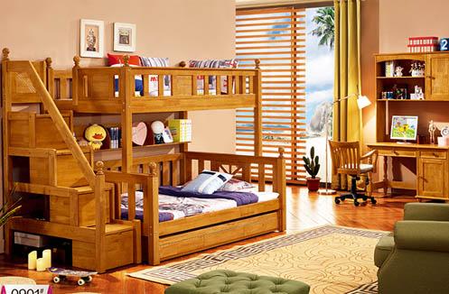 Giường tầng gỗ 3 tầng cho bé nhập khẩu