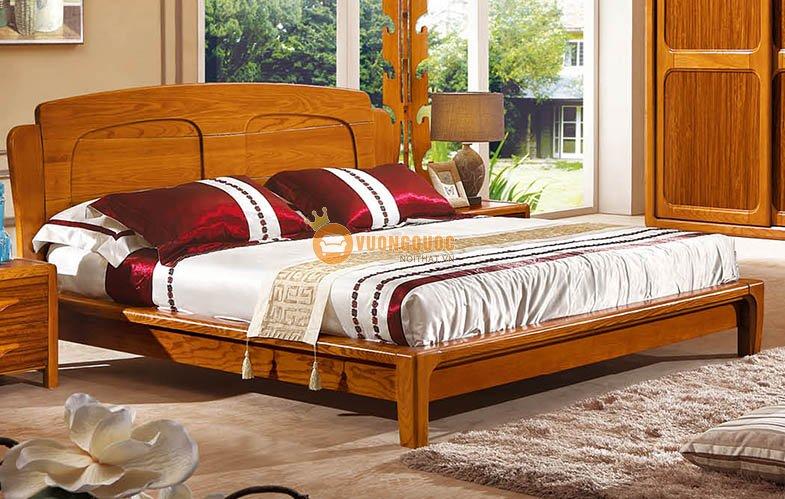 Bộ giường ngủ gỗ tự nhiên cao cấp CNS3A002