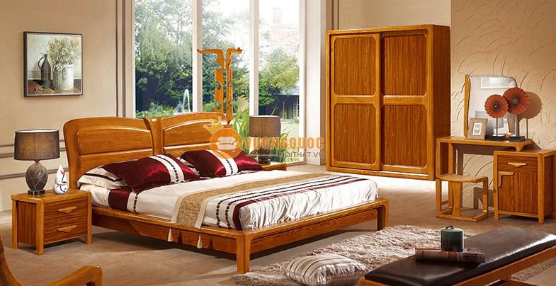 Bộ phòng ngủ gỗ tự nhiên hiện đại CNS3A006