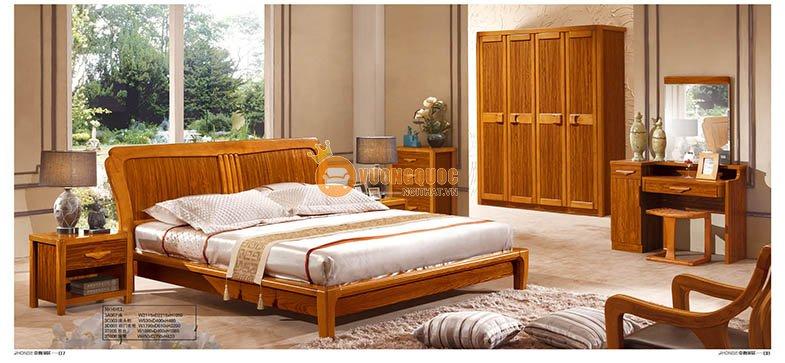 Bộ phòng ngủ đẹp gỗ tự nhiên CNS3A007