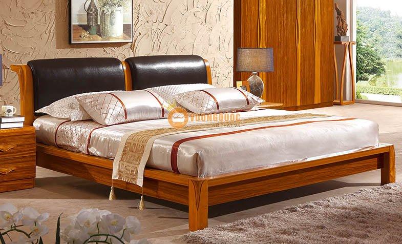 Bộ nội thất phòng ngủ gỗ tự nhiên CNS3A008 - Giường ngủ