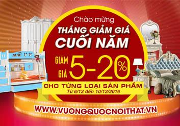 Vuongquocnoithat.vn giảm giá sản phẩm lên đến 25% dịp mua sắm cuối năm