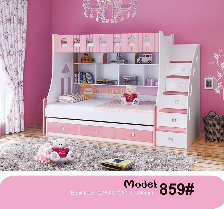 Giường tầng nhập khẩu chất liệu cao cấp HHM859-2