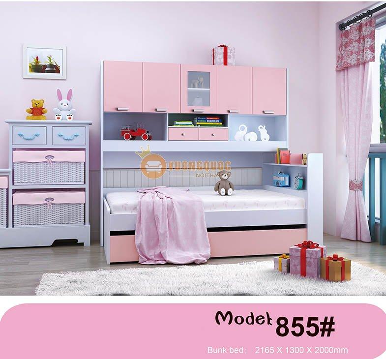 Giường tầng hộp cho bé có tủ đựng HHM855 - Màu Hồng