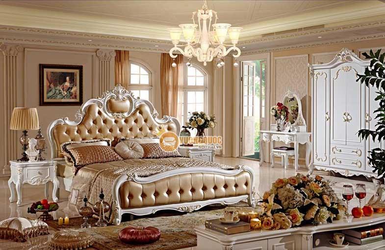 Giường ngủ tân cổ điển GD710G màu sâm panh thời thượng