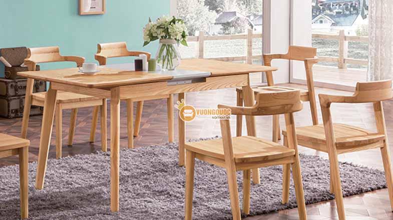 Bộ bàn ghế phòng ăn gỗ tự nhiên kiểu dáng đơn giản CGN5N102-4