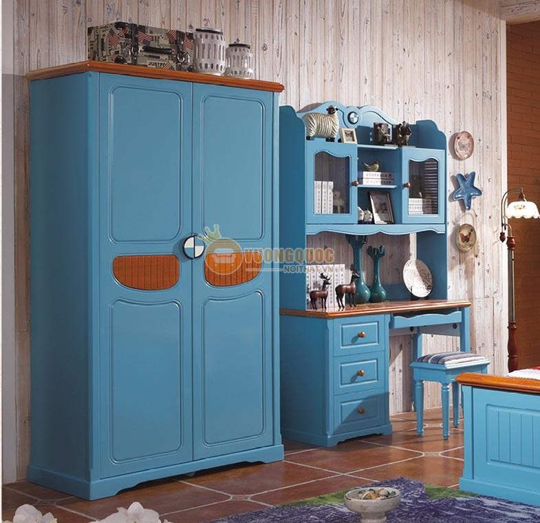 Bộ phòng ngủ màu xanh dương cá tính CTH7A008-2
