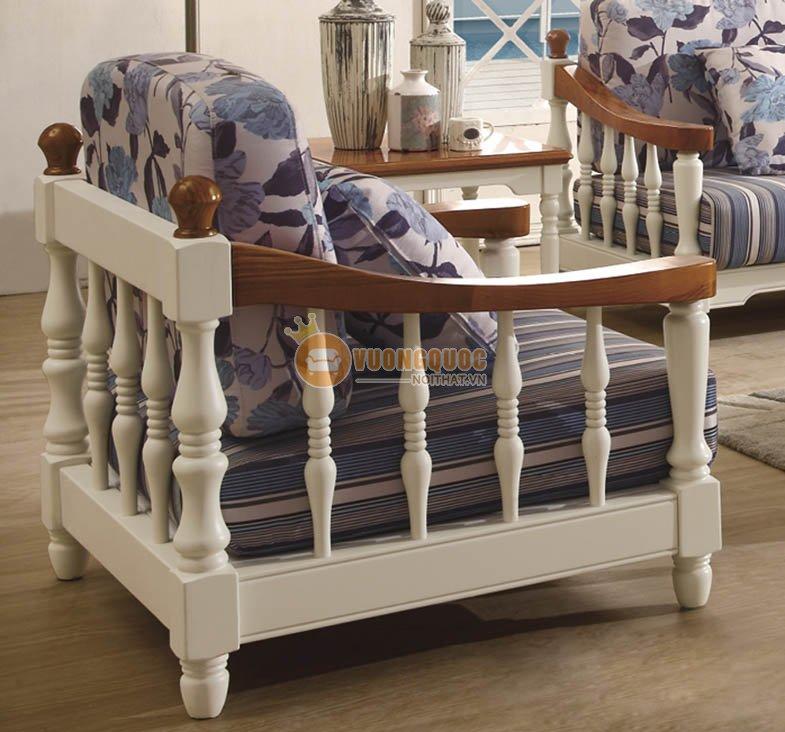 Bộ sofa phòng khách họa tiết hoa xanh thanh nhã CTH7S001S-1