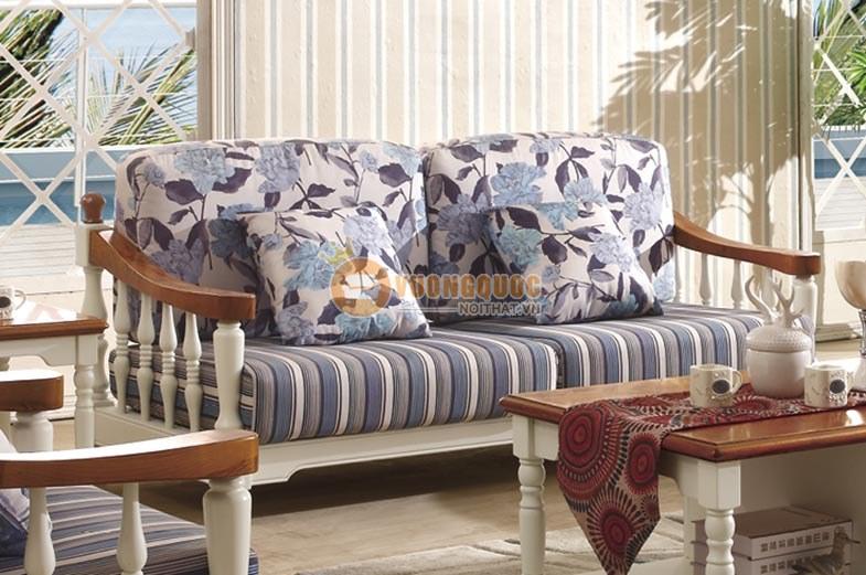 Bộ sofa phòng khách họa tiết hoa xanh thanh nhã CTH7S001S-2