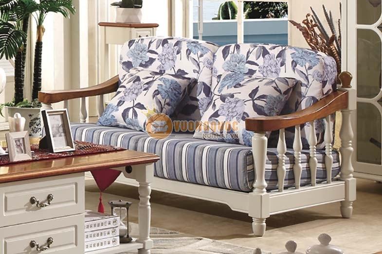 Bộ sofa phòng khách họa tiết hoa xanh thanh nhã CTH7S001S-3