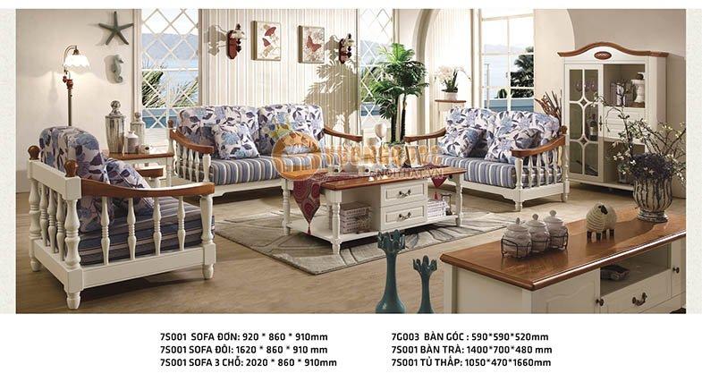 Bộ sofa phòng khách họa tiết hoa xanh thanh nhã CTH7S001S-4