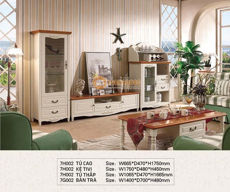Kệ tivi gỗ công nghiệp màu trắng nhập khẩu CTH7H002K-2