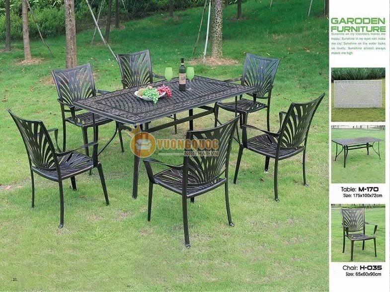 Bộ bàn ghế ngoài trời màu đen sang chảnh ZXM170H035-1