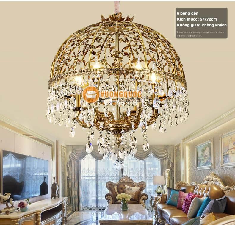 Trang hoàng không gian nội thất với đèn chùm pha lê nhập khẩu sang trọng