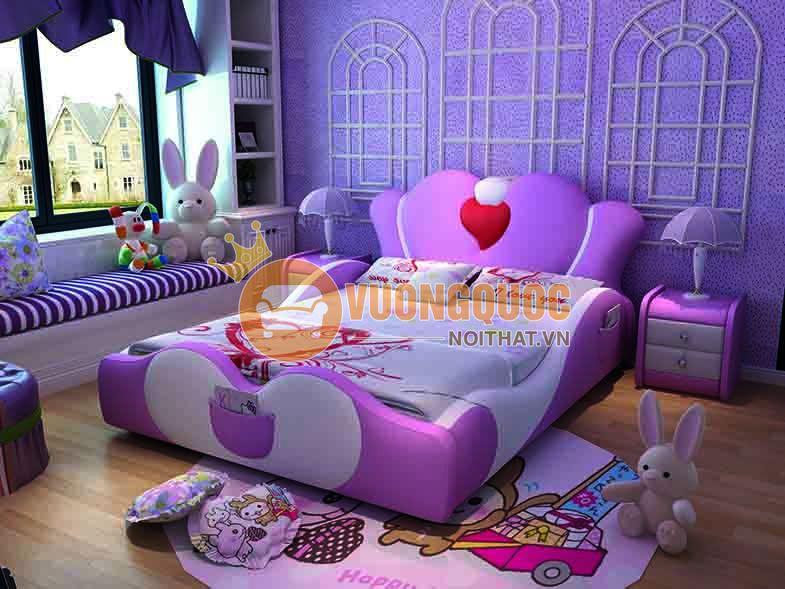 Giường ngủ cho bé bằng da cao cấp hình trái tim BABYL04