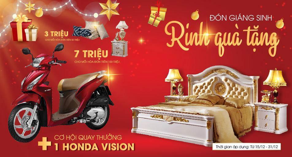 Đón Giáng Sinh - Zing Quà Tặng || Mua Nội Thất Nhận Ngay Xe Máy HONDA VISION Tại Vuongquocnoithat.vn