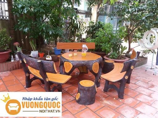 Hướng dẫn cách làm bàn ghế giả gỗ từ đá và xi măng