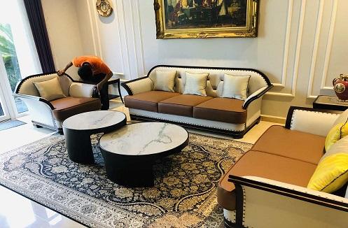 Hoàn thiện bộ sofa phòng khách sang trọng đẳng cấp tại nhà anh Sơn