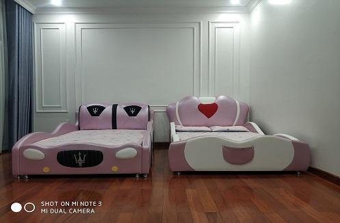 Hoàn thiện 2 mẫu giường ngủ bọc da cho bé tại nhà chị Huyền