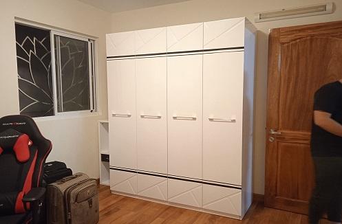 Hoàn thiện tủ quần áo thiết kế đơn giản hiện đại tại nhà cô Hồng